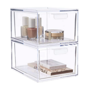 clear stackable makeup drawer